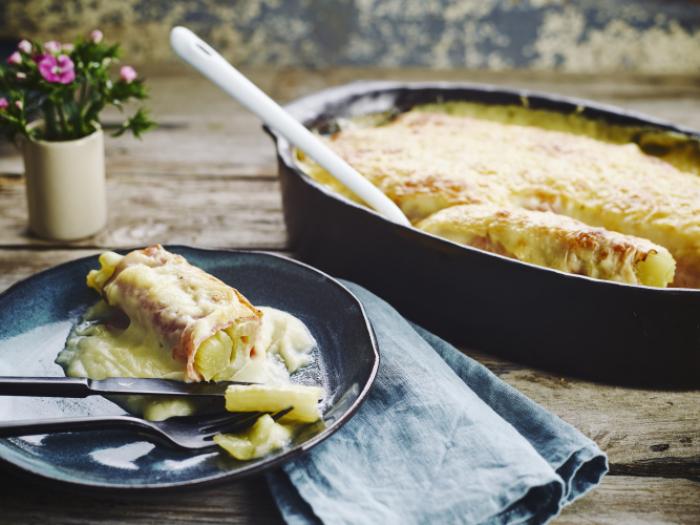 Witloof met kaas en hesp in de oven